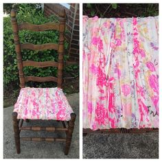 chair makeover with textile scraps by a Free People stylist