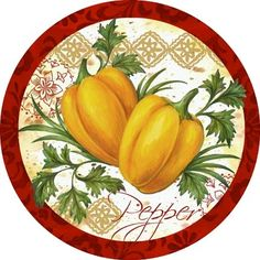 Veg Market Peppers (Elena Vladykina) Plate Wall Decor, Plates On Wall, Canning Jar Labels, Christmas Ideas For Boyfriend, Vegetable Painting, Cd Crafts, Christmas Makes, China Painting, Free Graphics