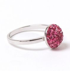 Sterling Silver & Pink Crystal Ball Ring.