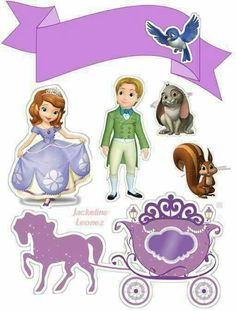 Sofia the First Birthday Free Printable Cake Toppers. - Oh My Fiesta! in english Princess Sofia Cake, Princess Sofia Birthday, Sofia The First Birthday Party, Tangled Birthday, Tangled Party, Tinkerbell Party, Toy Story Birthday, Toy Story Party, Bolo Sofia