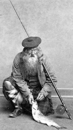 We can track your history. Old ancestry visit genealogy Scottish family history photograph image of a Fly Fisherman in a kilt from the Highlands of Scotland Old Pictures, Old Photos, Vintage Photos, Cthulhu, Men In Kilts, Vintage Fishing, Gone Fishing, Vintage Photography, Black And White