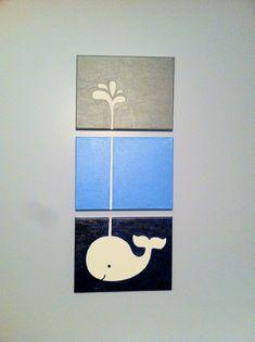 Whale canvas art for nursery
