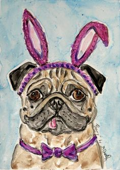 Easter Pug Art #pugs