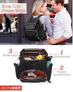 On the hunt for a fabulous yet functional diaper bag to tote all your baby gear? Look no further than the Chelsea Downtown Chic Diaper Backpack. With features like built-in stroller straps and multiple compartments, you'll be on the go in no time
