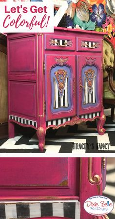 Tracey mixed Peony and Blueberry together to create a luscious lavender on this Tuxedo Striped end table. This colorful piece was complete without gold of course! Learn how to create this look on our blog. #dixiebellepaint #bestpaintonplanetearth #chalklife #homedecor #doityourself #diy #chalkmineralpaint #chalkpainted #easypeasypaint #makingoldnew #whybuynew #justpainting #paintedfurniture