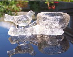 Vintage Open Salt Bird on Branch and Nest Mosser Glass Cambridge Ohio, 1973 Antique Show, Antique Glass, Cambridge Ohio, Salt Cellars, Sugar Bowls, Salt Box, Pottery Marks, Art Deco Glass, Bird On Branch