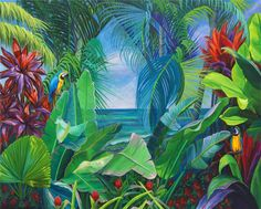 Artist April Davis known for brilliant tropical landscape cityscape original paintings. Murals Street Art, Mural Art, Tropical Art, Tropical Paintings, Garden Mural, Flower Mural, Landscape Art Quilts, Hawaiian Art, Caribbean Art