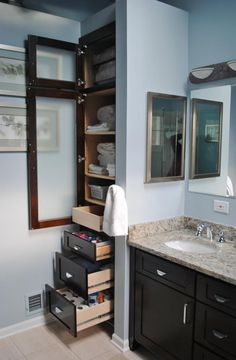 Bathroom Built in Closets Master Bathroom Updated - X-Post from Decorating - Bathrooms Forum . Bathroom Closet, Bathroom Renos, Organized Bathroom, Bathroom Shelves, Bathroom Vanities, Bathroom Bin, Budget Bathroom, Bathroom Cabinets, Bathroom Interior