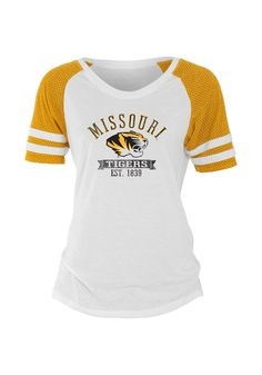 Missouri (Mizzou) Tigers Women's White and Gold Mesh Raglan Shirt http://www.rallyhouse.com/shop/missouri-tigers-5702608 $29.99