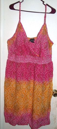 6c3747fade7 Lane Bryant Pink Yellow Ombre White Diamonds Tan Flowers Tank Dress 26   LaneBryant