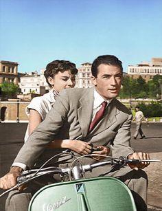 ローマの休日(Roman Holiday)1953年 グレゴリー・ペック / オードリー・ヘップバーン ローマの休日 銀幕スター彩色写真館 カラー化画像