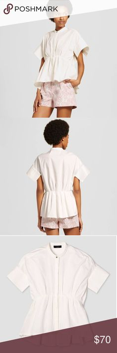 Victoria Beckham White Poplin Gathered Waist Shirt Women's White Poplin Gathered Waist Top - Victoria Beckham for Target - sold out online and largely sold out in stores! Available to ship Friday. Victoria Beckham Tops Blouses