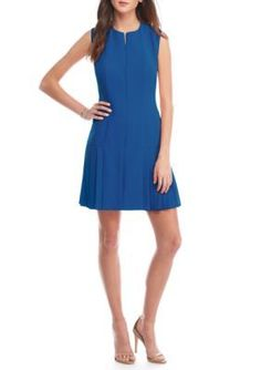 Anne Klein Bluebell Zipper Front Pleated Hem Dress