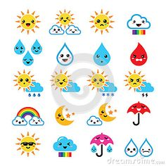 Buy Weather Icons by RedKoala on GraphicRiver. Funny cartoon weather icons set of clouds isolated on white FEATURES: Vector Shapes All groups have names All el. Blue Cartoon Character, Funny Sun, Cute Sun, Weather Icons, Free Printable Stickers, Cute Kawaii Drawings, Vector Shapes, Doodle Drawings, Manga