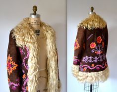 Vintage Embroidered Shearling Jacket Size Small// Vintage 70s Shearling Coat Suede Leather Fur Embroidered Jacket Hippie Boho Small Yaqub