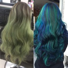 Before and after of @wolfnayley_ faded turquoise green color to her new look! I took her ombre up to more of a rooted color and added a blend of some blues and greens, OBSESSED ✨ #hairbyjessijo