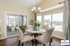 A beautiful Breakfast Room with an optional 5-window bay offers a spacious dining area adjacent to an elegant kitchen. Walk thru glass doors to an enclosed screen porch for morning coffee or evening relaxation—a beautiful way to start or end your day! http://www.bridgewatercommunities.com