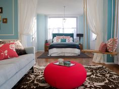 Blue and red and white bedroom