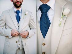 Blue tie, grey suit and rose buttonhole
