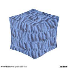 Wavy Blue Pouf