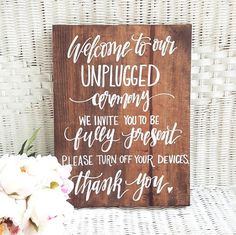We love this sign because its a perfect way to kindly ask your guests not to use electronics during your wedding ceremony. T U R N A R O U N D Our current time of completion is about 5 Weeks, due to high demand of our products. If you plan on placing a large order, please email us for a custom invoice and combined shipping. We always kindly recommend providing your wedding date / need by date with your order.   D I M E N S I O N S 15x11 inches Self Standing Please email us, if you would ...