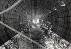Interior hull of a U.S. Navy dirigible before gas cells were installed, ca. 1933. (National Archives)