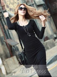 Women Maxi Dress // This will keep you slim and sexy ! http://www.tbdress.com/product/New-Korean-Style-Slim-Long-Sleeve-Dress-10409884.html
