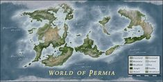 Commissioned world map. The style had to be similar to my Atlas of Thersis with a photorealistic style but with easier features, the whole map is for us. World of Permia Fantasy World Map, Imaginary Maps, Geography Map, Concept Art World, Fictional World, Cartography, Dungeons And Dragons, Earth, Deviantart