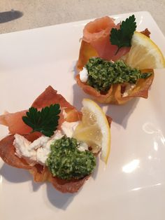 Smoked salmon, home grown home made pesto with goats cheese,  canapé s