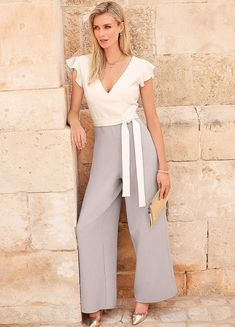 Colour Block Jumpsuit Colour Block, Color Blocking, Second Weddings, Party Looks, Occasion Wear, Wide Leg Trousers, Work Pants, Fitted Bodice, New Outfits