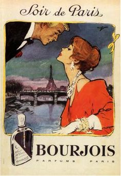 This is a high quality fine art giclee print of a vintage French advertising art poster for purfume in Paris, France, circa 1950. This very hard to find piece features a couple kissing. You can be sure she is wearing 'Soir de Paris' by Bourjois Parfums for this special occasion!