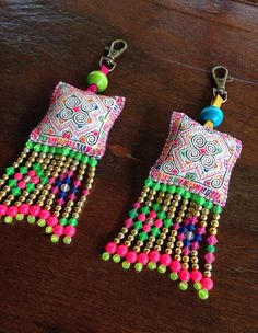 2 x Hmong fabric beaded tassel keyring charm cute hilltribe bag accessory crafts… Textile Jewelry, Fabric Jewelry, Jewellery, Saree Tassels, Passementerie, Fabric Beads, Bijoux Diy, Hand Embroidery, Diy And Crafts