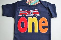 Boys First Birthday Shirt Fire Truck Fireman by TheColorfulYears, $30.00