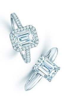 The emerald cut first became popular in the 1920s, but these rings from Tiffany & Co. are still sleek and contemporary.