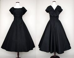 Chic 1950's New Look Black Silk Cocktail Party by wearitagain, $398.00
