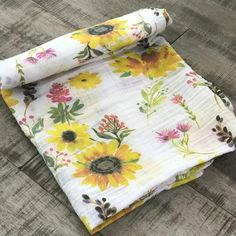 Sunflower Swaddle – Three Little Anchors Wildflower Baby Shower, Baby Shower Flowers, Baby Shower Fall, Girl Shower, Baby Print, Sunflower Nursery, Happy Flowers, Baby Girl Blankets, Baby Boutique