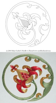 Free Hand Embroidery Pattern: Pomegranate in the Round. Site includes the pattern and shows step-by-step instructions for how she finished the embroidery. Great photos and written steps.