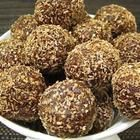 Raw Vegan Chocolate Fruit Balls from allrecipes.com.au. Nuts, dates, apricots, raisins, cocoa—Yummy!