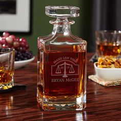 Stock your home bar with a handsome decanter that is sure to please any lawyer.