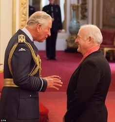 Acclaimed: Barry was joined at the palace by restaurateur and author Rick Stein, who received a CBE for Services to the Economy Inspector Morse, Rick Stein, Barry Gibb, Prince Of Wales, Prince Charles, Elizabeth Ii, Robin, Palace, June