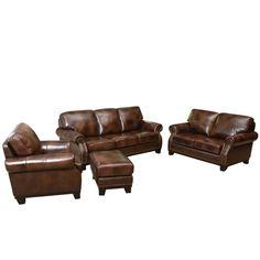 Abbyson Living Erringer 4 Piece Top Grain Leather Set