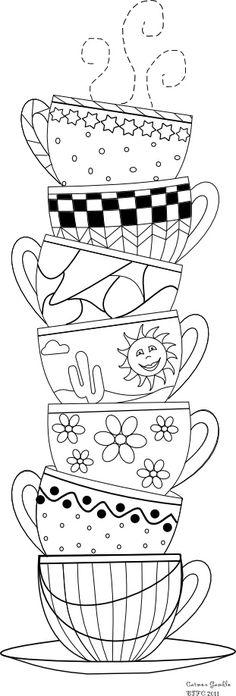 teacups...cute .... fun idea for a wallhanging!!