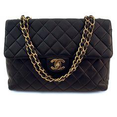 Chanel Black Vintage Jumbo Mademoiselle Flap Leather Handbag (Authentic Pre Owned)
