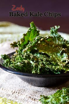 Baked Kale Chips Recipe.   Tried this, pretty addicting. But use less salt. Ised a ziplock bag instead if massaging. And don't get impatient and try the broiler ;)