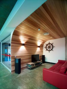 Curved plank wall is awesome.