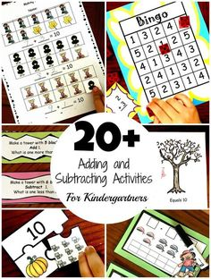 20 Adding and Subtracting Activities For Kindergarteners Subtraction Activities, Math Activities For Kids, Literacy Games, Counting Activities, Math For Kids, Hands On Activities, Fun Math, Math Games, Math Resources