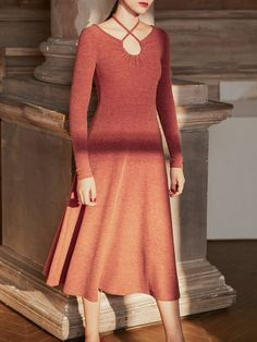 Shop Midi Dresses - Elegant Solid Cross Front Gathered Long Sleeve Sweater Dress online. Discover unique designers fashion at StyleWe.com.