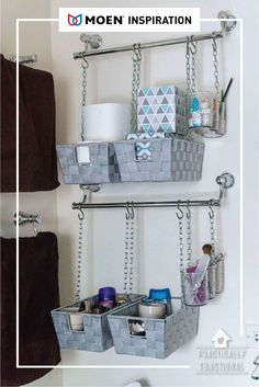 Need over the toilet storage? Install towel bars and hang baskets from them to make simple DIY hanging storage bins! - Over the Toilet Storage - Ideas of Over the Toilet Storage Hanging Towels, Hanging Storage, Diy Hanging, Hanging Baskets, Hanging Plant, Storage Hacks, Diy Storage, Storage Baskets, Storage Ideas