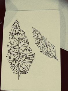Geometric feather drawing freehand