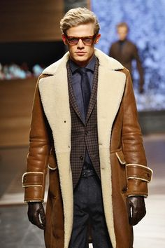 Men's Leather Coats and Jackets for Fall: Ermenegildo Zegna Mens Leather Coats, Men's Leather Jacket, Shearling Jacket, Leather Jackets, Men's Jacket, Leather Gloves, Brown Leather, Look Fashion, Winter Fashion